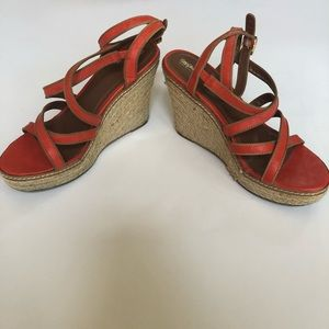 Mossimo Orange and Tan Strappy Wedges